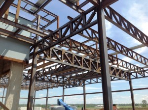 Structural steel trusses at Miami Valley Gaming in Monroe, Ohio