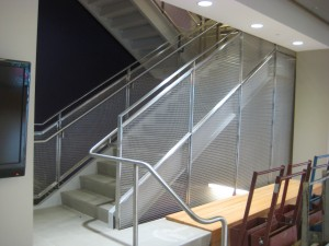 Stainless steel architectural railing and stairs at Bluffton University in Ohio